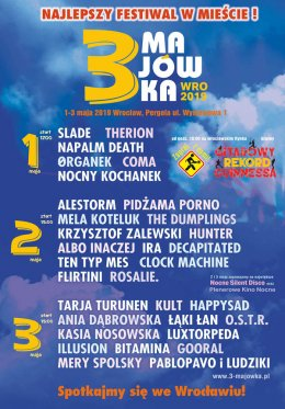 3-Majówka 2019 - Dzień II: Alestorm, Pidżama Porno, Mela Koteluk, Krzysztof Zalewski, Projekt Albo Inaczej, The Dumplings, Ten Typ Mes, Ira, Decapitated, Hunter, Clock Machine, Rosalie, Flirtini - Bilety na koncert